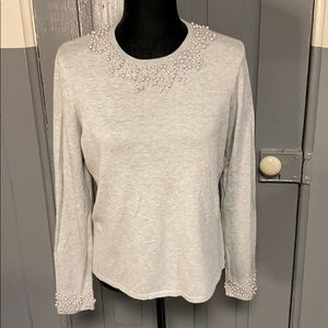 Charter Club Gray Pearl Detail Crew Neck Sweater
